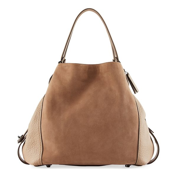 COACH Edie 42 Mixed Leather Shoulder Bag - Coach suede shoulder bag with pebbled leather trim at...