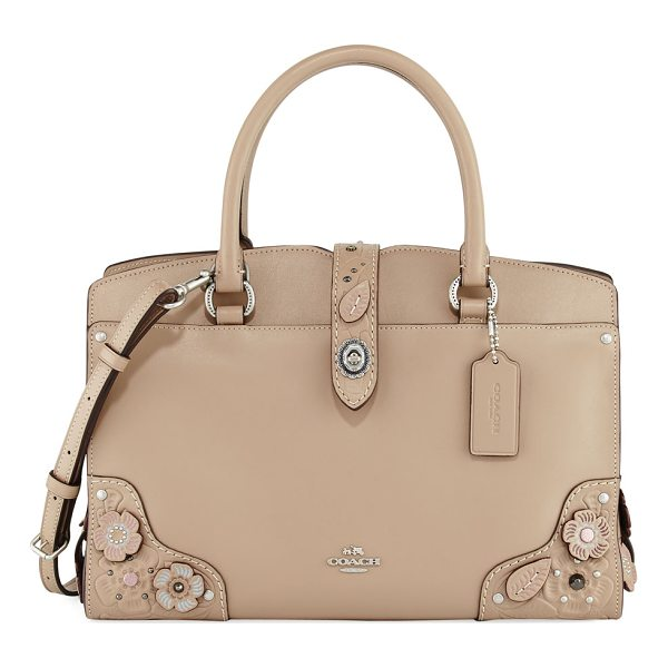 COACH Mercer 30 Tea Rose Tooling Handbag - Coach leather handbag with floral appliqus. Rolled top...