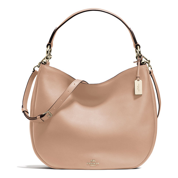 COACH Nomad Leather Hobo Bag - Coach glove-tanned calf leather hobo bag. Light golden...