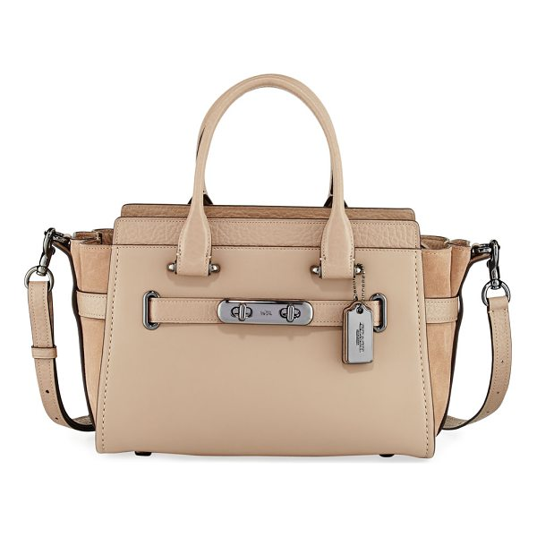 COACH Swagger 27 Refresh Satchel Bag - Coach satchel bag in mixed leather and suede. Gunmetal...