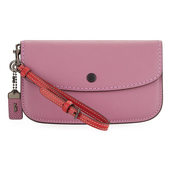 COACH Two-Tone Leather Wristlet Clutch Bag - EXCLUSIVELY AT NEIMAN MARCUS Coach 1941 smooth leather...