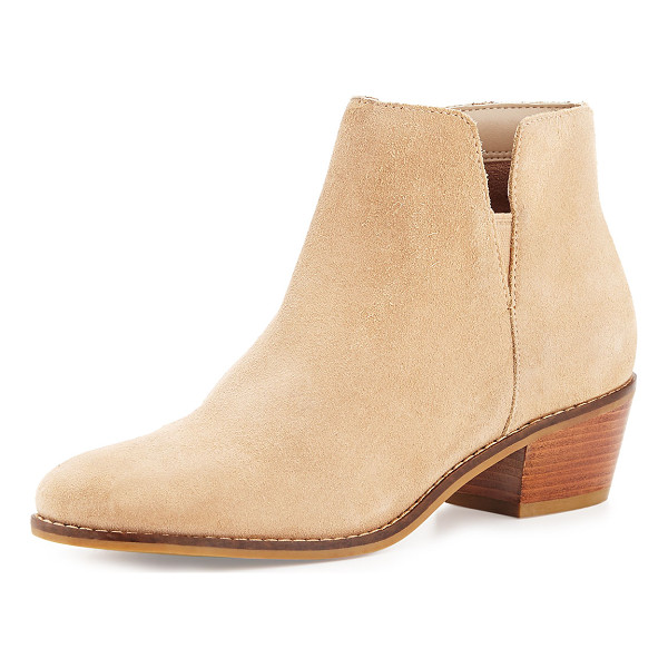 "COLE HAAN Abbot Grand. OS Suede Cutout Bootie - Cole Haan suede bootie. 1.8"" stacked heel. Round toe. Side..."