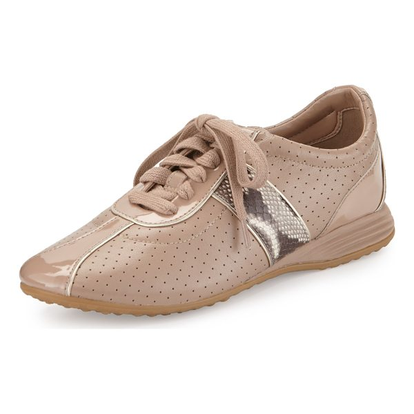 COLE HAAN Bria Grand Perforated Leather Sneaker - Cole Haan perforated leather sneaker with patent and...