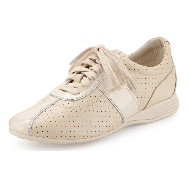 COLE HAAN Bria Grand Perforated Leather Sneaker - Cole Haan perforated leather sneaker with patent trim. 1""