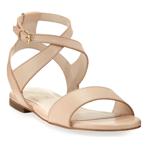 COLE HAAN Fenley Grand Ankle-Wrap Flat Sandal - Cole Haan smooth leather sandal. Flat heel. Strap bands