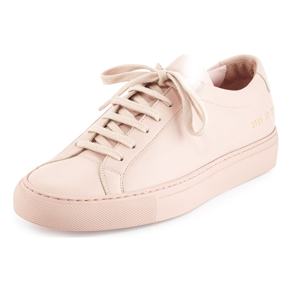 "COMMON PROJECTS Achilles Leather Low-Top Sneaker - Common Projects napa leather low-top sneaker. 1"" flat heel...."