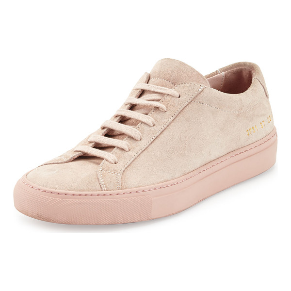 "COMMON PROJECTS Achilles Suede Low-Top Sneaker - Common Projects Italian suede low-top sneaker. 1"" flat..."