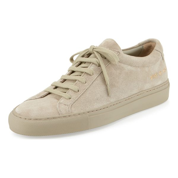 """COMMON PROJECTS Achilles Suede Low-Top Sneaker - Common Projects Italian suede low-top sneaker. 1"""" flat..."""