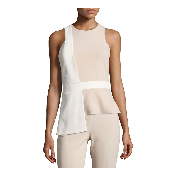 CUSHNIE ET OCHS Sleeveless Bicolor Top with Overlapping Panel - Cushnie et Ochs bicolor top with overlapping detail. Jewel...