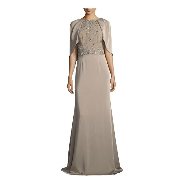 DAVID MEISTER Capelet Jewel-Bodice Short-Sleeve Gown - David Meister embellished capelet gown. Round neckline;...