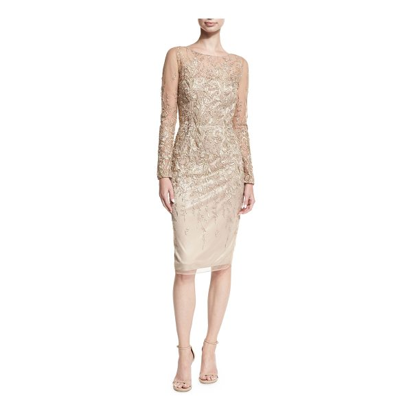 DAVID MEISTER Long-Sleeve Embroidered Metallic Lace Cocktail Dress - David Meister cocktail dress in embroidered metallic lace....