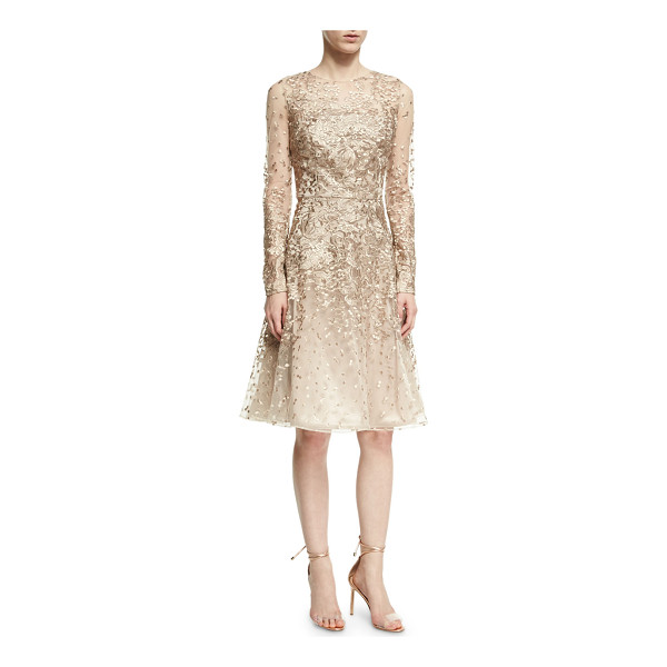 DAVID MEISTER Long-Sleeve Lace Cocktail Dress - David Meister cocktail dress in embroidered metallic lace....