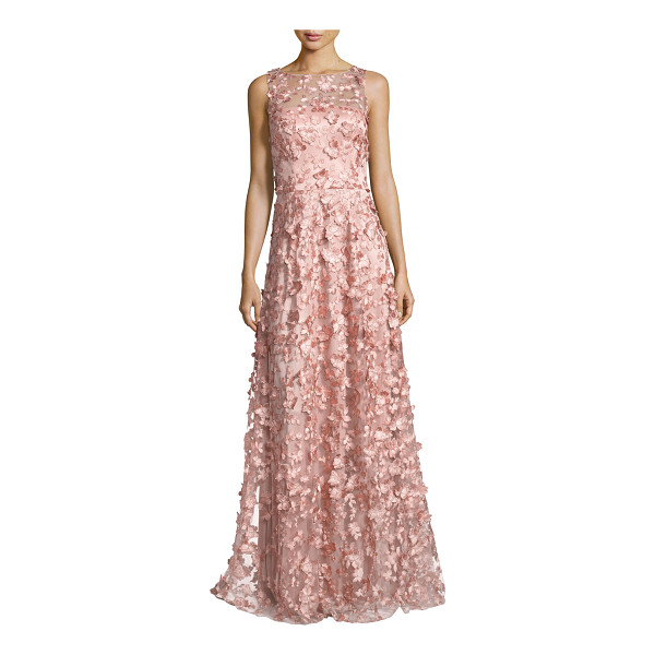 DAVID MEISTER Sleeveless 3D Floral Tulle Gown - David Meister evening gown in tulle with metallic 3D floral...