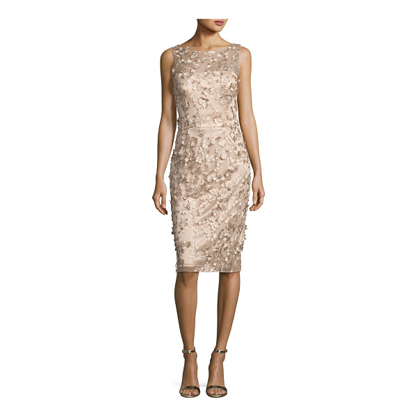 DAVID MEISTER Sleeveless Metallic 3D Floral Cocktail Dress - David Meister metallic cocktail dress with 3D floral...