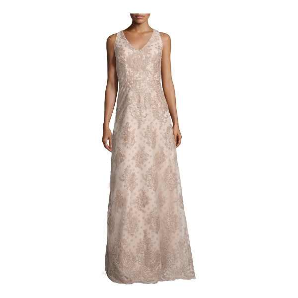 DAVID MEISTER Sleeveless Polka Dot Lace Gown - David Meister polka dot lace dress. V neckline and back....