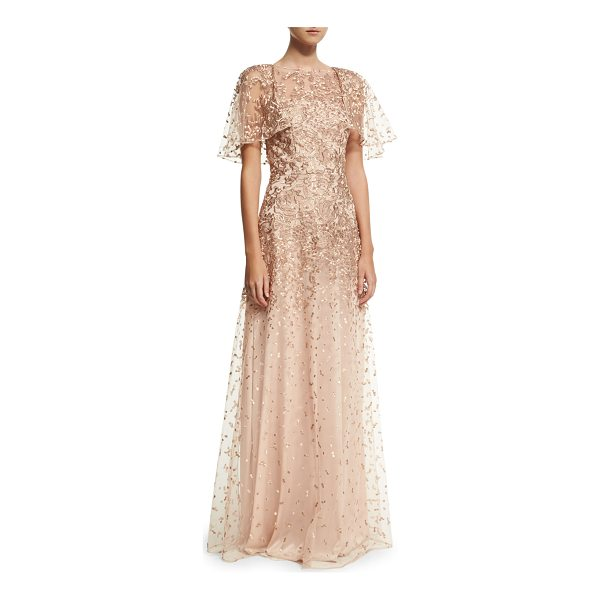DAVID MEISTER Wing-Sleeve Embroidered Lace Gown - David Meister embroidered lace evening gown. Jewel...