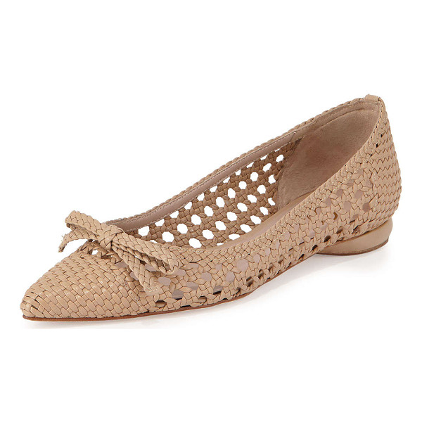 "DELMAN Shana Woven Leather Flat - Delman flat with woven metallic leather upper. 0.5""..."