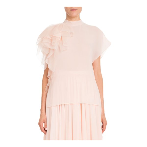 DELPOZO Cap-Sleeve Mock-Neck Silk Georgette Blouse w/ Ruffled Detail - Delpozo blouse in silk georgette with ruffled detail at...