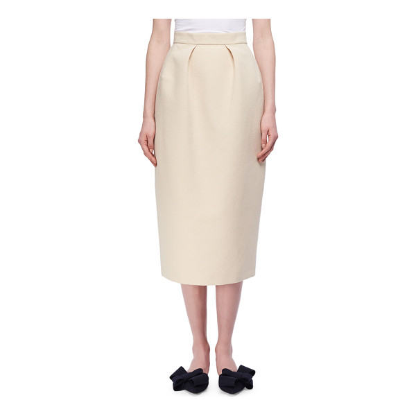 DELPOZO Pleated Cotton Pencil Skirt - Delpozo woven pencil skirt. Banded natural waist. Front...