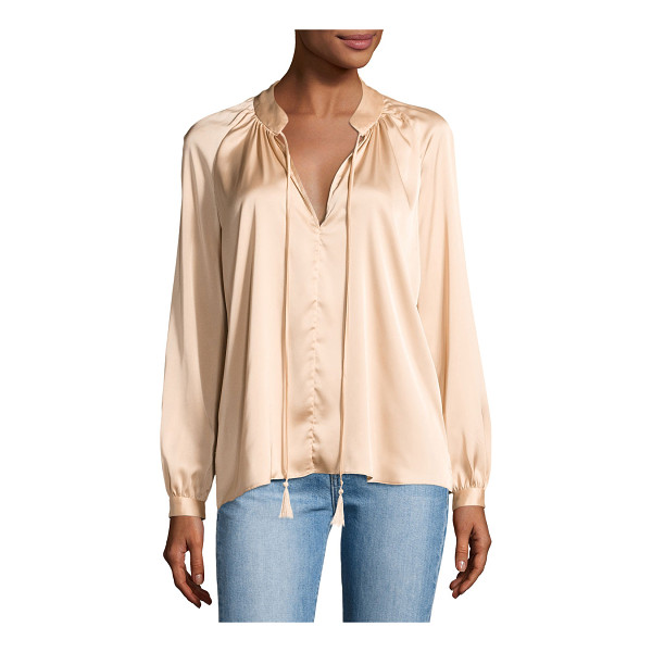 "DEREK LAM 10 CROSBY Nehru Long-Sleeve Satin Blouse - Derek Lam 10 Crosby ""Nehru"" blouse in satin. Approx. 26""L..."
