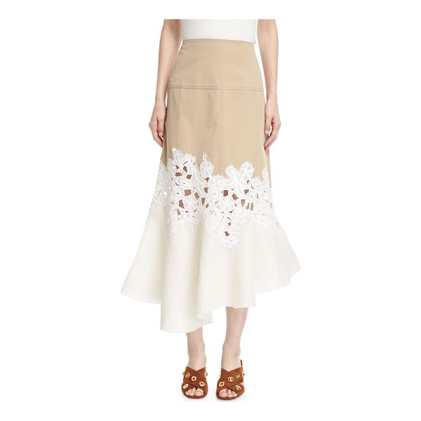 DEREK LAM Lace-Inset Cotton Twill Midi Skirt - Derek Lamb skirt in two-tone twill. Climbing floral lace...