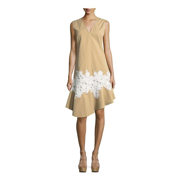 DEREK LAM Twill Lace-Inset V-Neck Dress - Derek Lam dress in twill. Contrast floral lace inset at...