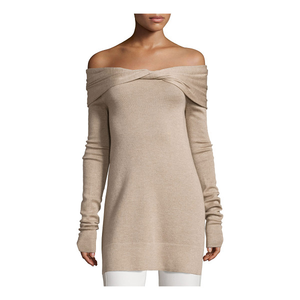 DEREK LAM Twisted Off-Shoulder Long-Sleeve Tunic - Derek Lam cashmere-blend tunic. Twisted off-the-shoulder...