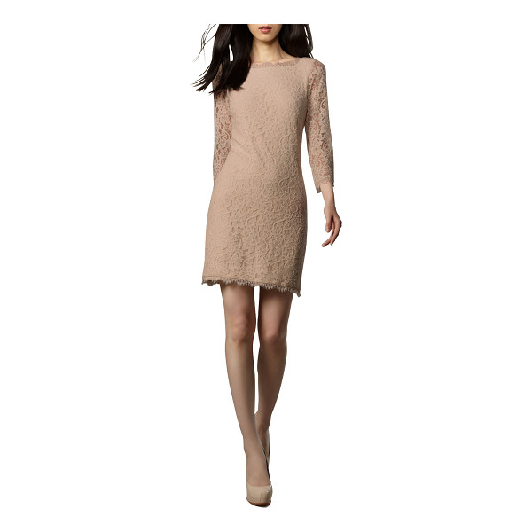 "DIANE VON FURSTENBERG Zarita Lace V-Back Dress - Nude lace with scalloped trim. Approx. length: 31""L down..."