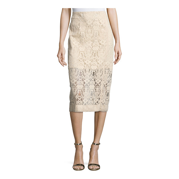 DKNY Floral Tulle Midi Skirt - DKNY midi skirt in floral tulle. Fitted, pencil silhouette....