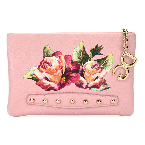 "DOLCE & GABBANA Cleo Floral Pochette Clutch Bag - Dolce & Gabbana ""Cleo"" clutch bag in floral-painted calf..."