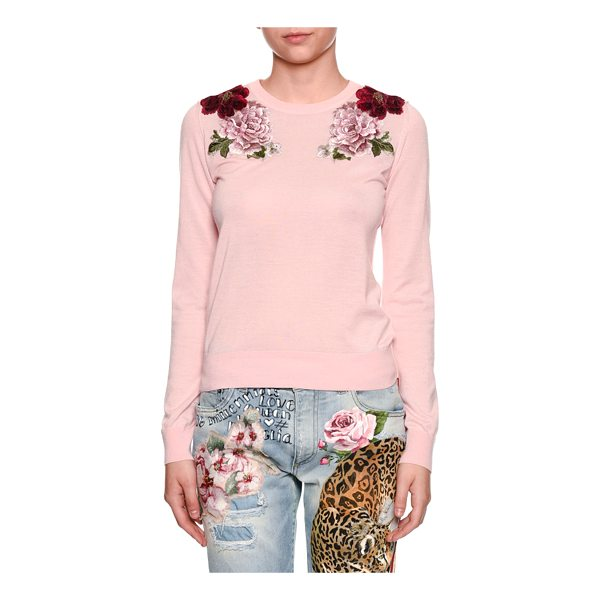 DOLCE & GABBANA Crewneck Long-Sleeve Cashmere Sweater w/ Rose Applique - Dolce & Gabbana cashmere sweater with rose appliques. Crew...