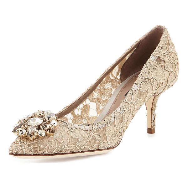 "DOLCE & GABBANA Jewel-Embellished Lace Pump - Dolce & Gabbana lace pump. 2.5"" covered heel. Pointed toe...."