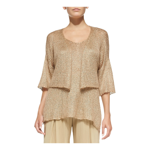 DONNA KARAN Cropped Half-Sleeve Cardigan - Crocheted Donna Karan cardigan, cropped at waist. Open