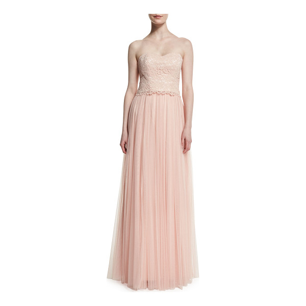 "DONNA MORGAN Adeline Strapless Lace Tulle Combo Gown - Donna Morgan ""Adeline"" two-piece gown with floral lace top..."