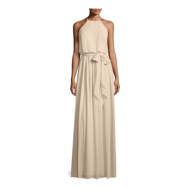 "DONNA MORGAN Alana Tie-Waist Chiffon Gown - Donna Morgan ""Alana"" evening gown in chiffon. Approx. 62""L..."
