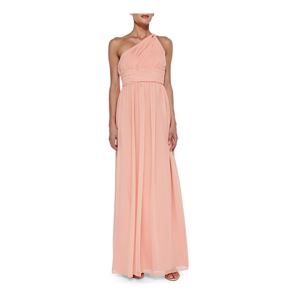 "DONNA MORGAN One-shoulder chiffon gown - Donna Morgan chiffon gown. Approx. 62""L from shoulder to..."