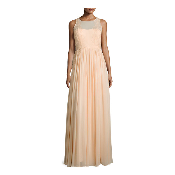 """DONNA MORGAN Penelope sleeveless a-line gown - Donna Morgan """"Penelope"""" chiffon gown with Galloon-lace..."""