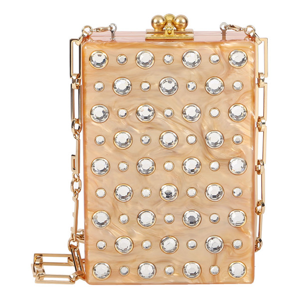 "EDIE PARKER Carol Metallic Stud Clutch Bag - Edie Parker ""Carol"" hand poured acrylic clutch with acrylic..."