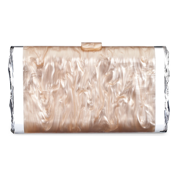 EDIE PARKER Lara Acrylic Ice Clutch Bag - Pearlescent acrylic; signature clear detail on sides. Snap...