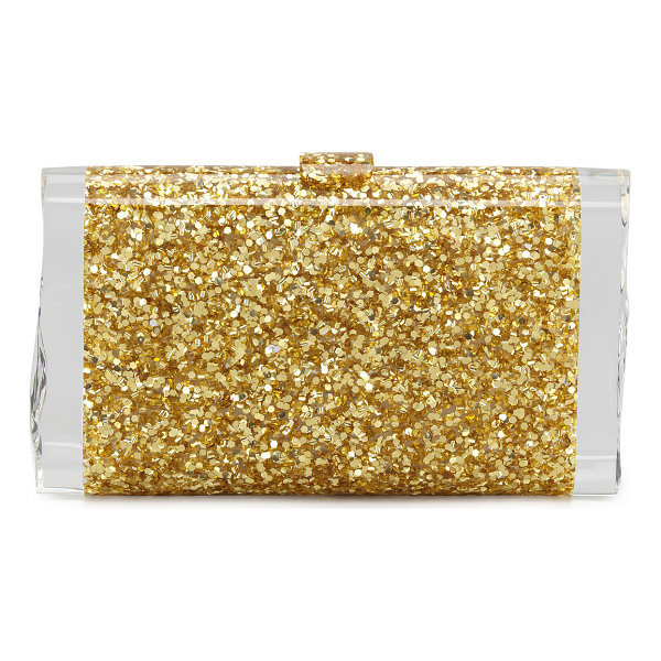 EDIE PARKER Lara Confetti Clutch Bag - Golden confetti acrylic; signature clear ice ends on sides.