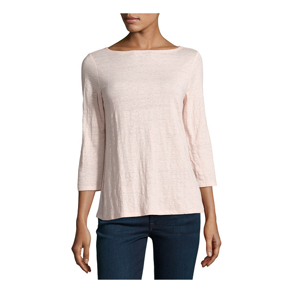 EILEEN FISHER 3/4-Sleeve Organic Linen Jersey Top - Eileen Fisher top in slub jersey, available in your choice...