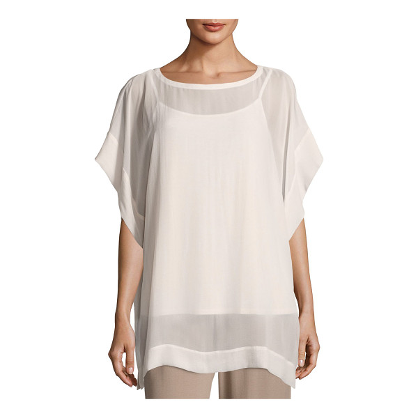 EILEEN FISHER Bateau-Neck Sheer Silk Georgette Box Top - Eileen Fisher sheer silk georgette box top, available in...