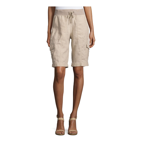 EILEEN FISHER Drawstring-Waist Organic Linen Cargo Shorts - Eileen Fisher knee-length cargo shorts in organic linen,...