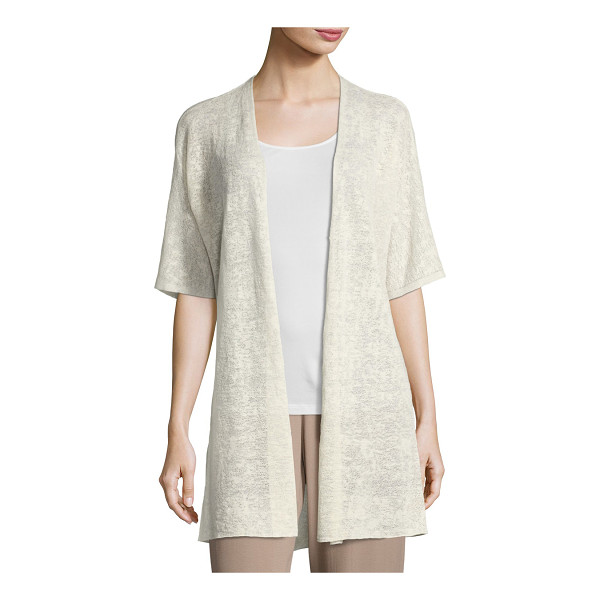 "EILEEN FISHER Half-Sleeve Sheer Long Cardigan - Eileen Fisher sheer hemp-blend cardigan. Approx. 33""L down..."