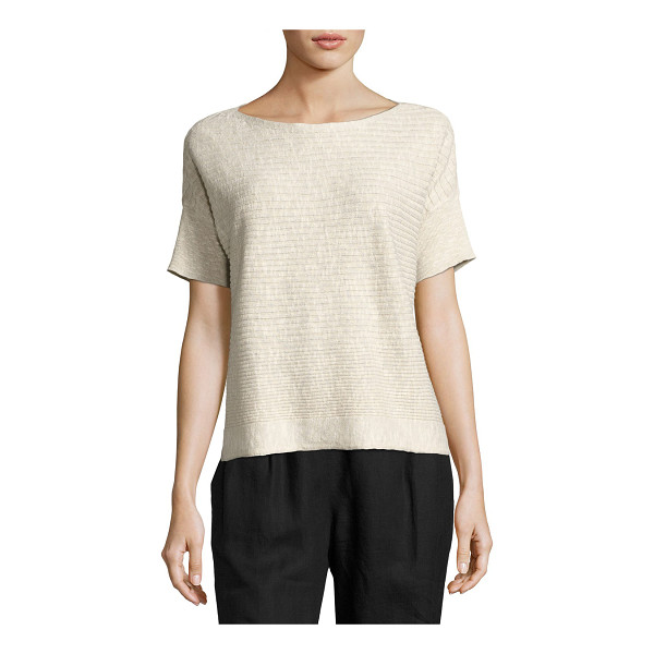 EILEEN FISHER WOMENS ORGANIC LINEN COTTON - Eileen Fisher slubby box top in horizontal ribbed knit,...
