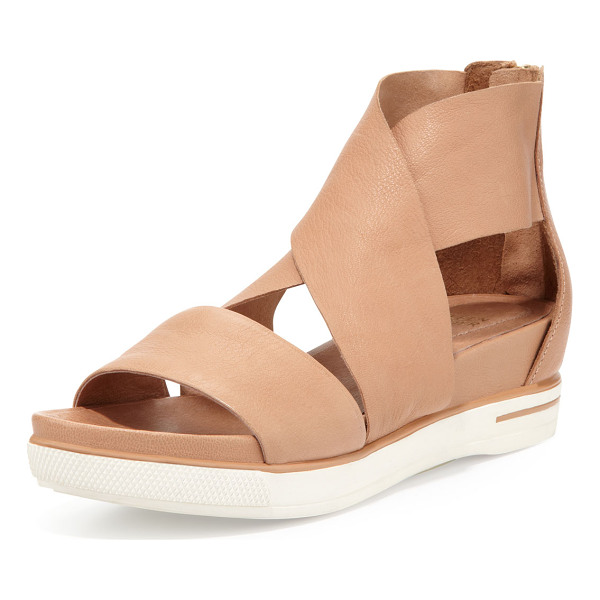 EILEEN FISHER Sport wide-strap leather sandal - Grain leather upper. Straps crisscross over vamp. Wide band...