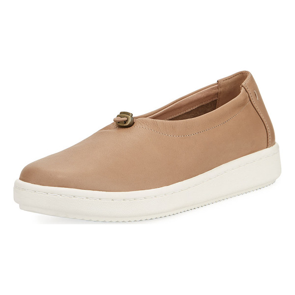 EILEEN FISHER Sydney Pull-Tab Leather Sneaker - Eileen Fisher leather sneaker. Flat heel with platform....