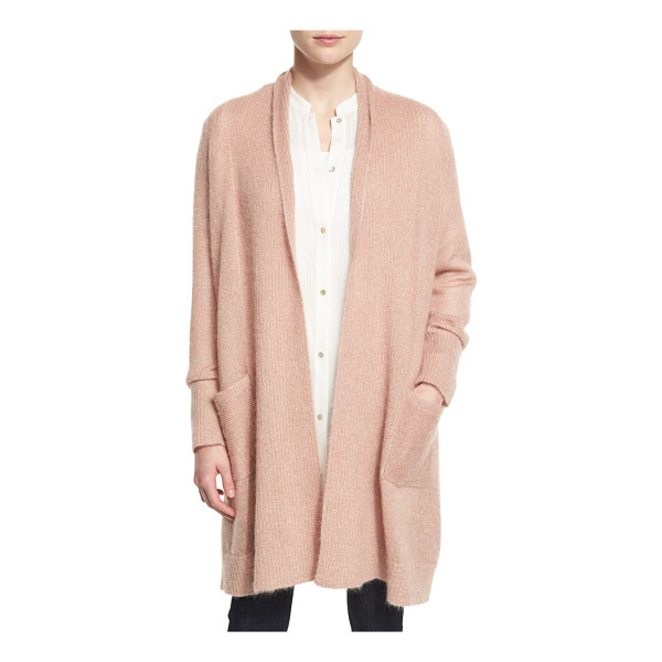 EILEEN FISHER Washed Mohair-Blend Shawl Cardigan - Eileen Fisher ribbed cardigan. Shawl collar; open front....