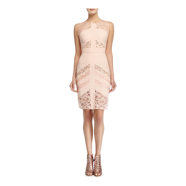 ELIE SAAB Sleeveless lace-inset sheath dress - Elie Saab stretch-knit dress with linear-lace insets....