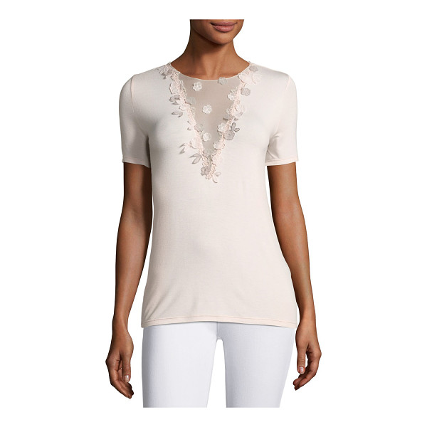 "ELIE TAHARI Brielle Tie-Back Floral Applique Knit Top - """"Brielle"" knit blouse by Elie Tahari features sheer mesh..."